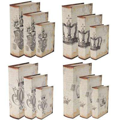 13 in. x 3 in. Decorative Book Boxes (12-Pack)