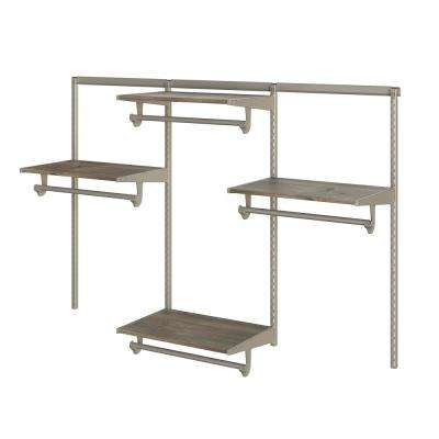 Closet Culture 16 in. D x 72 in. W x 48 in. H Champagne Nickel Steel Closet Kit with Driftwood Shelves
