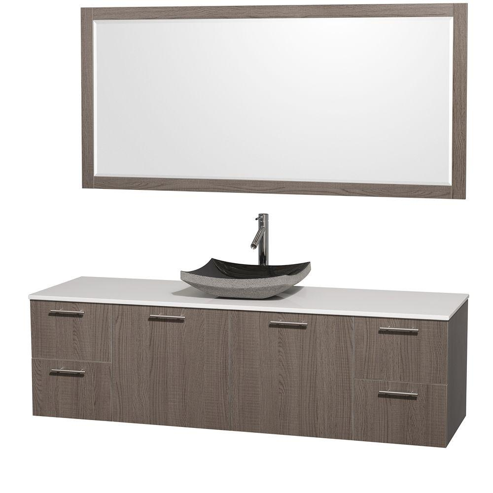 Wyndham Collection Amare 72 in. Vanity in Grey Oak with Man-Made Stone Vanity Top in White and Black Granite Sink