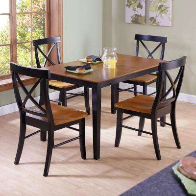 Black & Cherry Wood X Back Dining Chair (Set of 2)