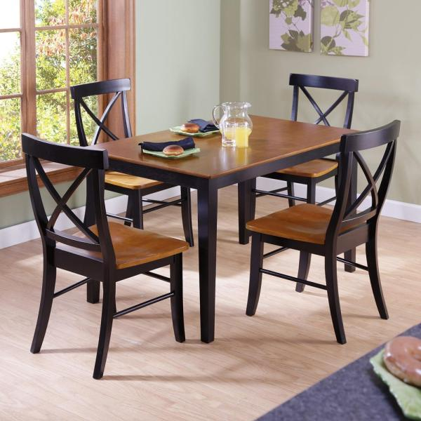 International Concepts Black and Cherry Wood X Back Dining Chair (Set