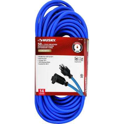 50 ft. 14/3 (-50°) Cold Weather Indoor/Outdoor Extension Cord, Blue
