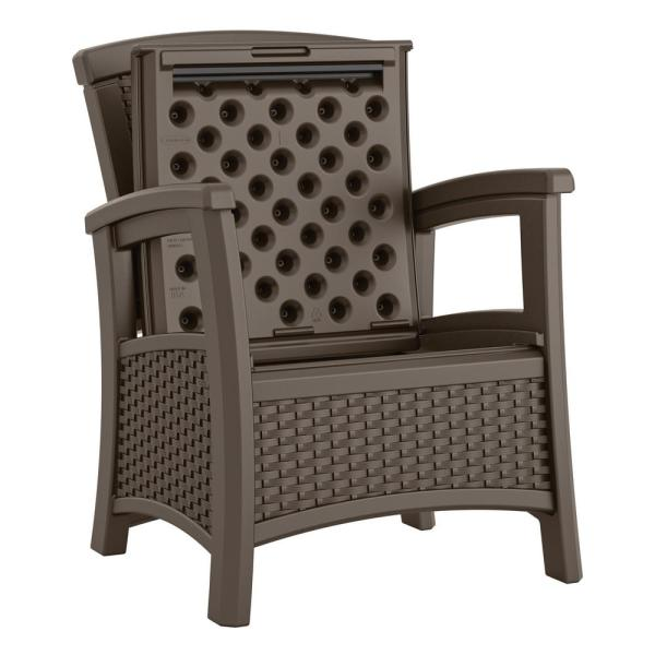Suncast Elements Resin Outdoor Lounge Chair With Storage Bmcc1800 The Home Depot