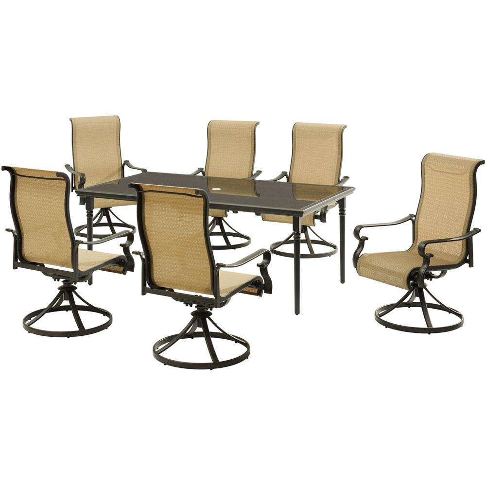 Outstanding Hanover Brigantine 7 Piece Aluminum Outdoor Dining Set With A 40 In X 70 In Glass Top Table And 6 Sling Swivel Rockers Frankydiablos Diy Chair Ideas Frankydiabloscom
