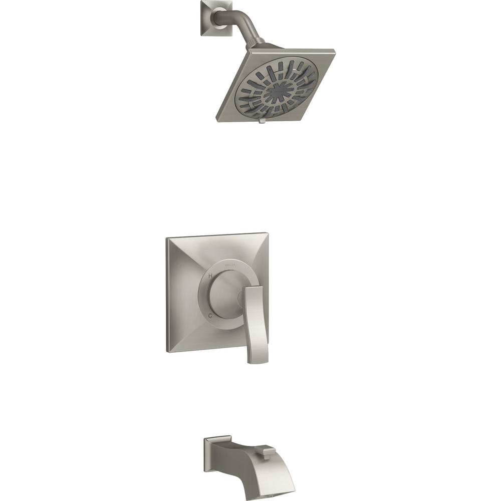 KOHLER Truss Rite-Temp 1-Handle 3-Spray Tub and Shower Faucet in Vibrant Brushed Nickel (Valve Included)