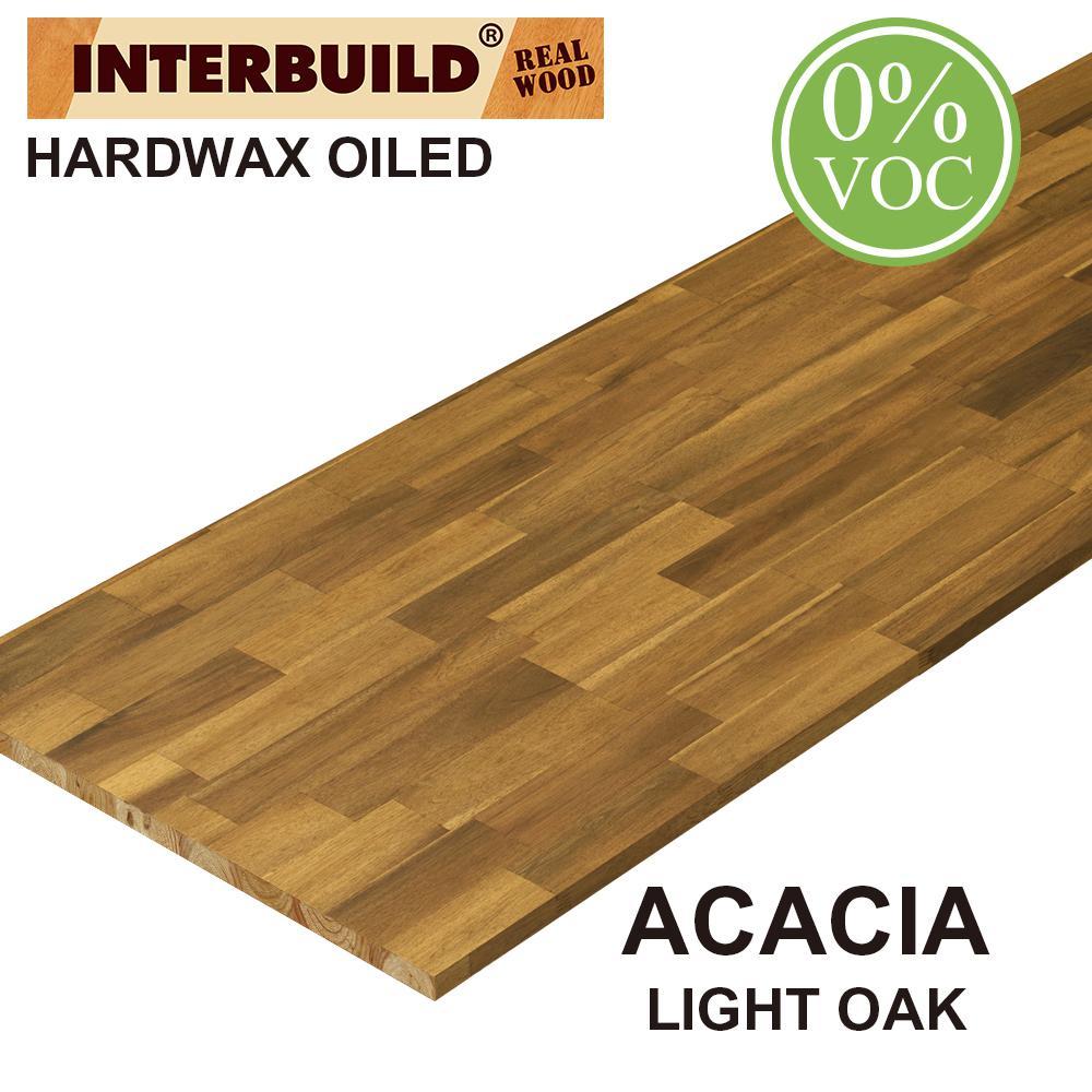 Acacia 6 ft. L x 25 in. D x 1 in. T Butcher Block Countertop in Light Oak Stain