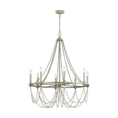 Beverly 8-Light French Washed Oak and Distressed White Wood Chandelier