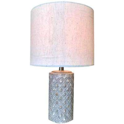 16 in. Grey Table Lamp with Round Linen Shade