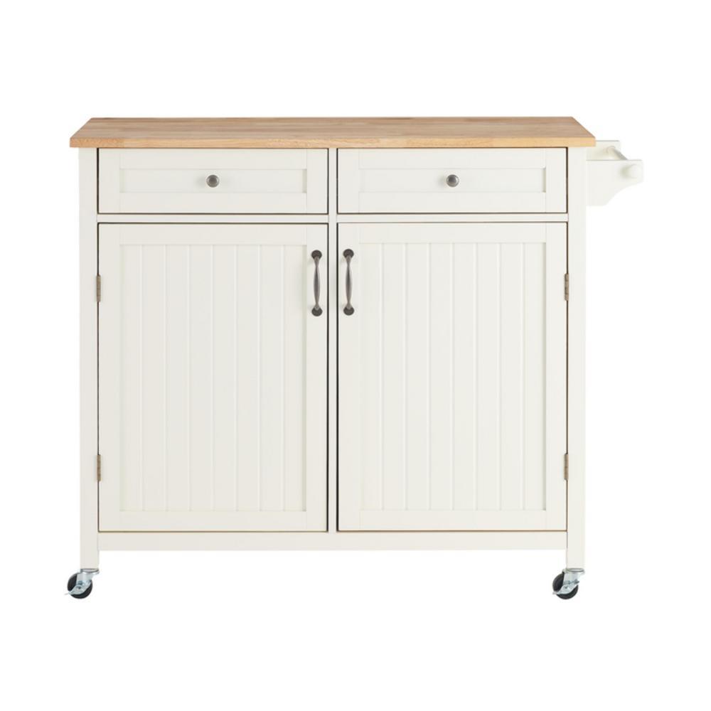 Bainport Ivory Kitchen Cart with Butcher Block Top