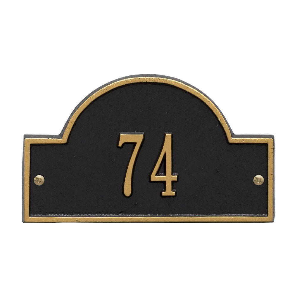 Whitehall Products Arch Marker Petite Black/Gold Wall 1-Line Address Plaque