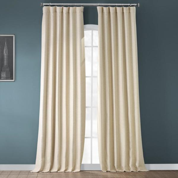 Semi-Opaque Candlelight Beige Bellino Blackout Curtain - 50 in. W x 108 in. L (Panel)
