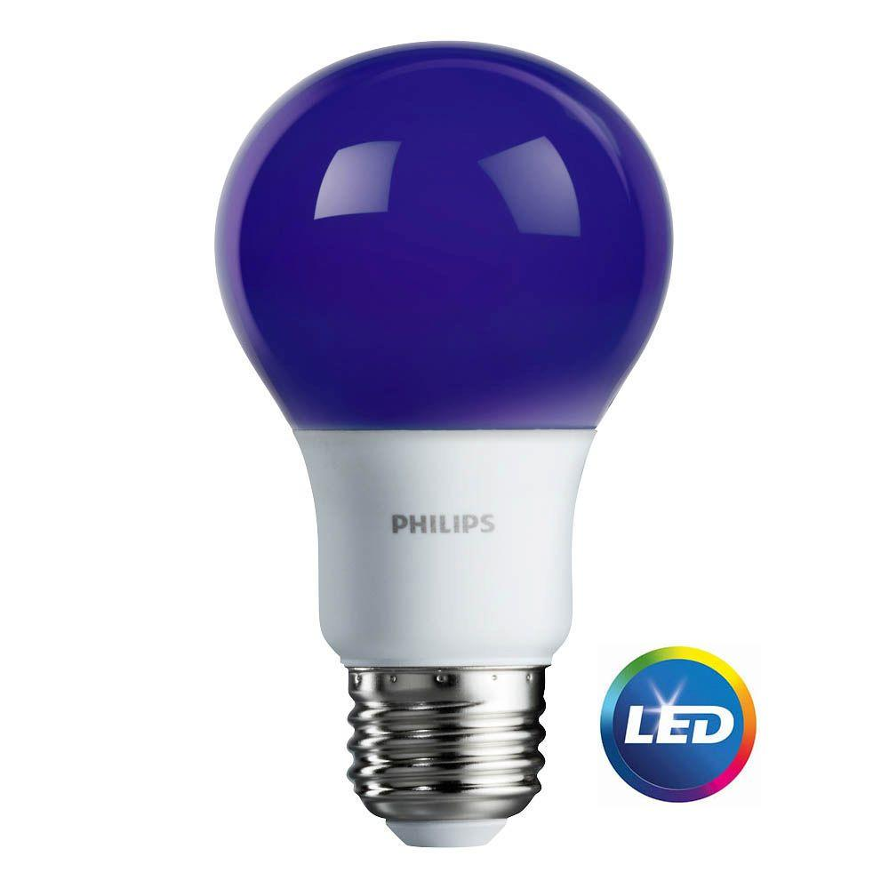 Light Bulb Home Depot: Philips 60-Watt Equivalent A19 LED Purple-463208