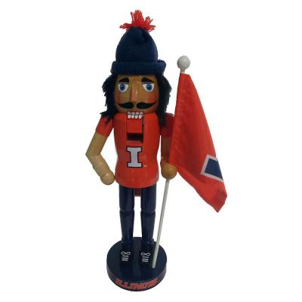 12 in. Illinois Mascot and Flag Nutcracker