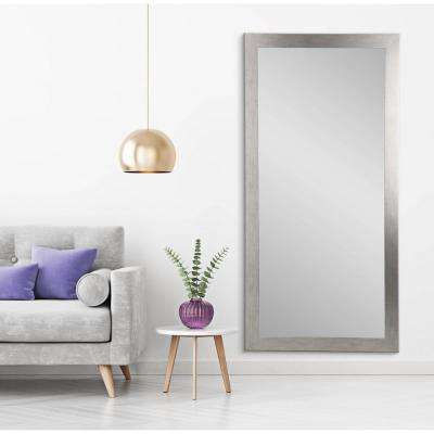 Modern Silver Grain Tall Framed Mirror