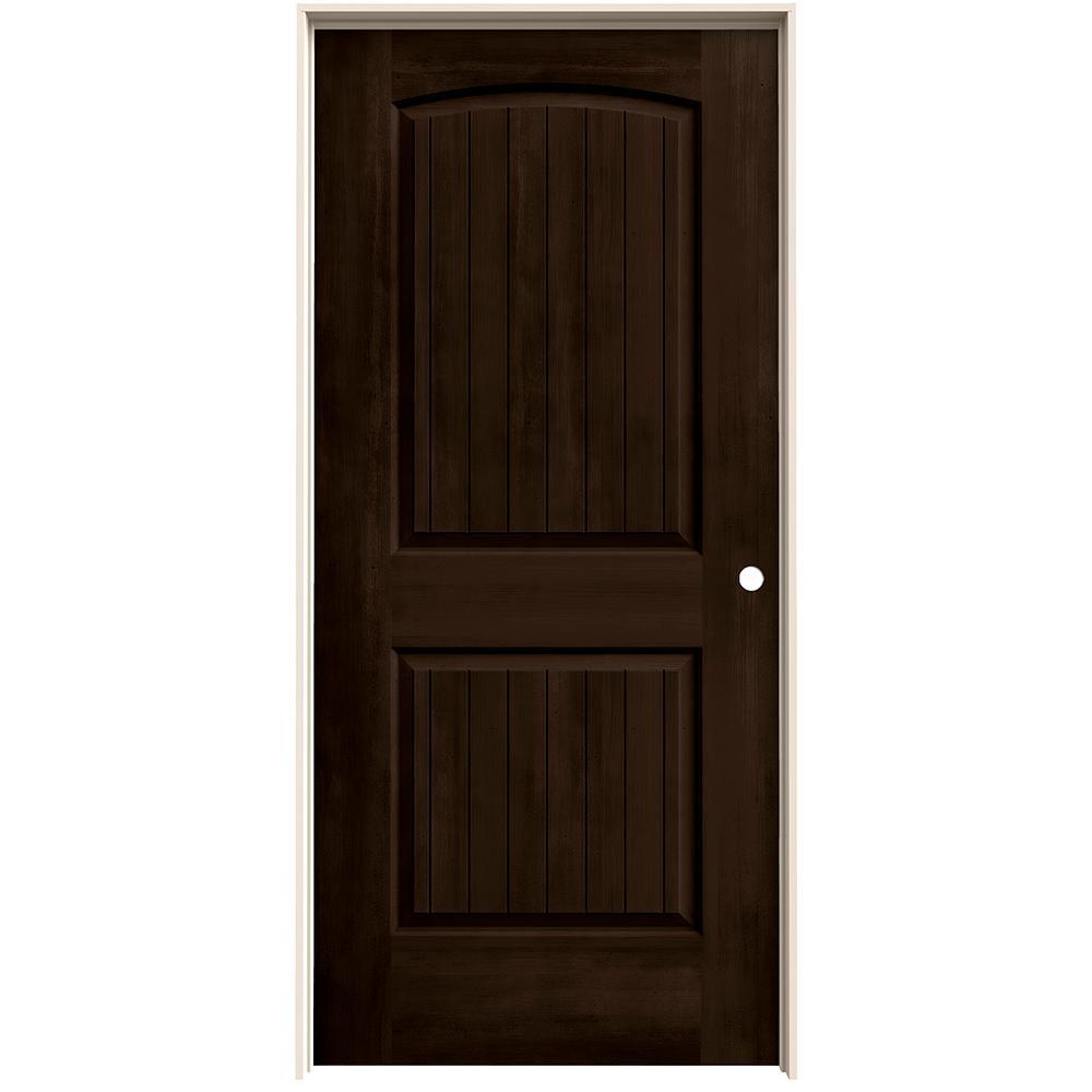 36 in. x 80 in. Santa Fe Espresso Stain Left-Hand Solid Core Molded Composite MDF Single Prehung Interior Door