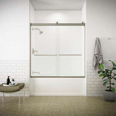 Levity 59 in. x 62 in. Semi-Frameless Sliding Tub Door in Matte Nickel with Handle