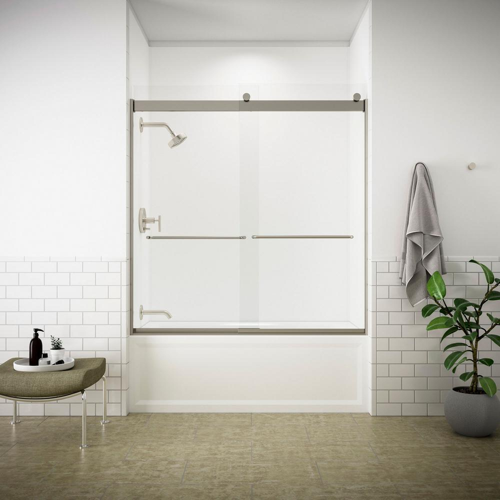 KOHLER Levity 59 in. x 62 in. Semi-Frameless Sliding Tub Door in Nickel with Handle and Clear Glass
