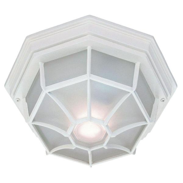 Flushmount Collection 2-Light Textured White Outdoor Ceiling-Mount Light Fixture