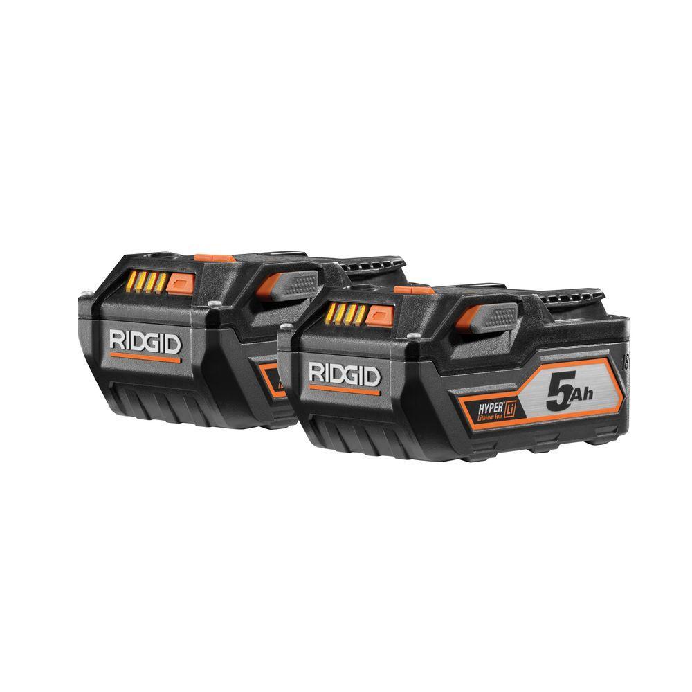 RIDGID 18-Volt HYPER Lithium-Ion Battery Pack 5.0Ah (2-Pack)