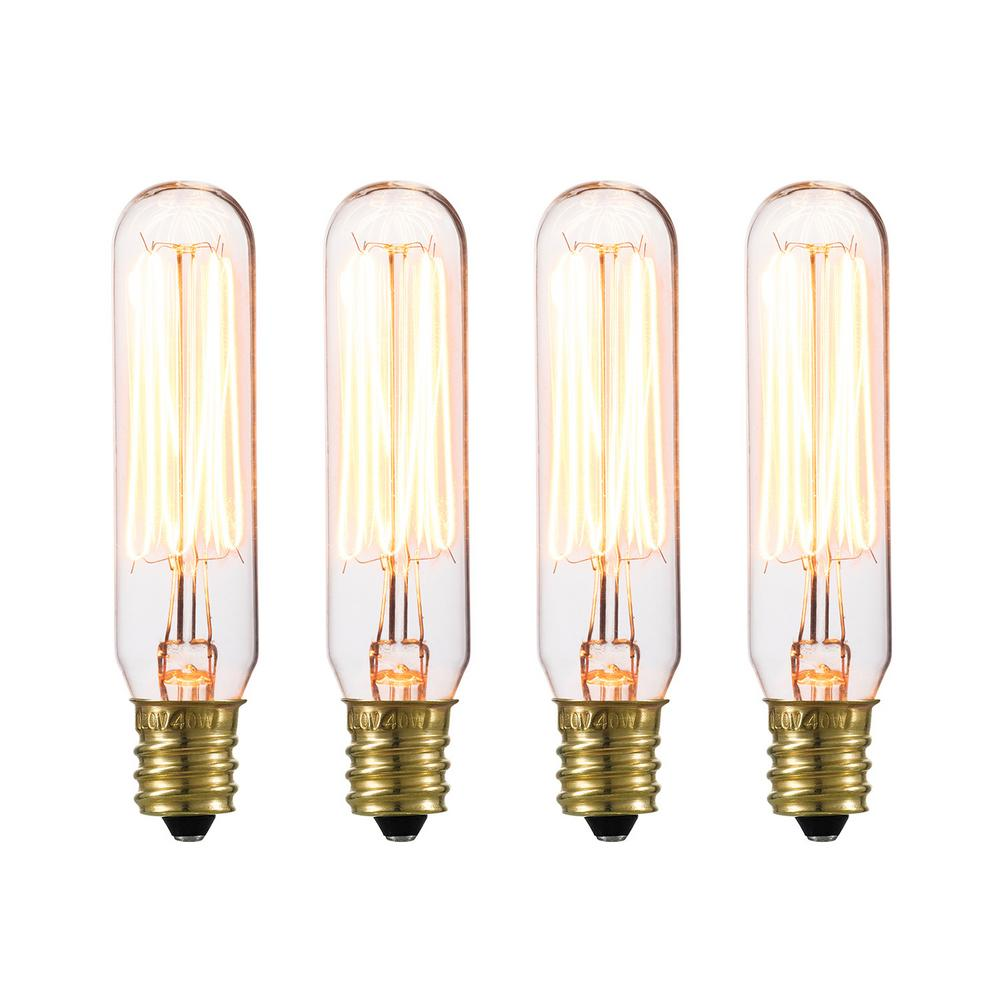 40-Watt T6 Vintage Edison Incandescent Light Bulb (4-Pack)