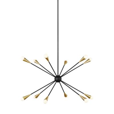 ED Ellen DeGeneres Crafted by Generation Lighting Jax 38 in. W 12-Light Midnight Black Chandelier with Swivel Canopy