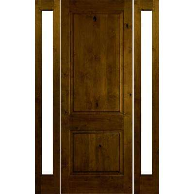 58 in. x 80 in. Rustic Knotty Alder Sq Provincial Stained Wood Right Hand Single Prehung Front Door