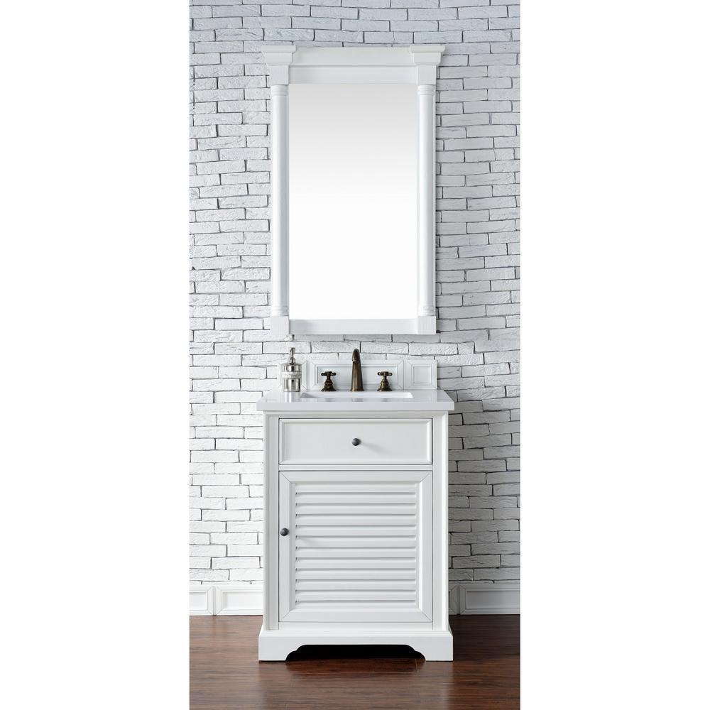 Savannah 26 in. Single Vanity in Cottage White with Quartz Vanity Top in Classic White with White Basin