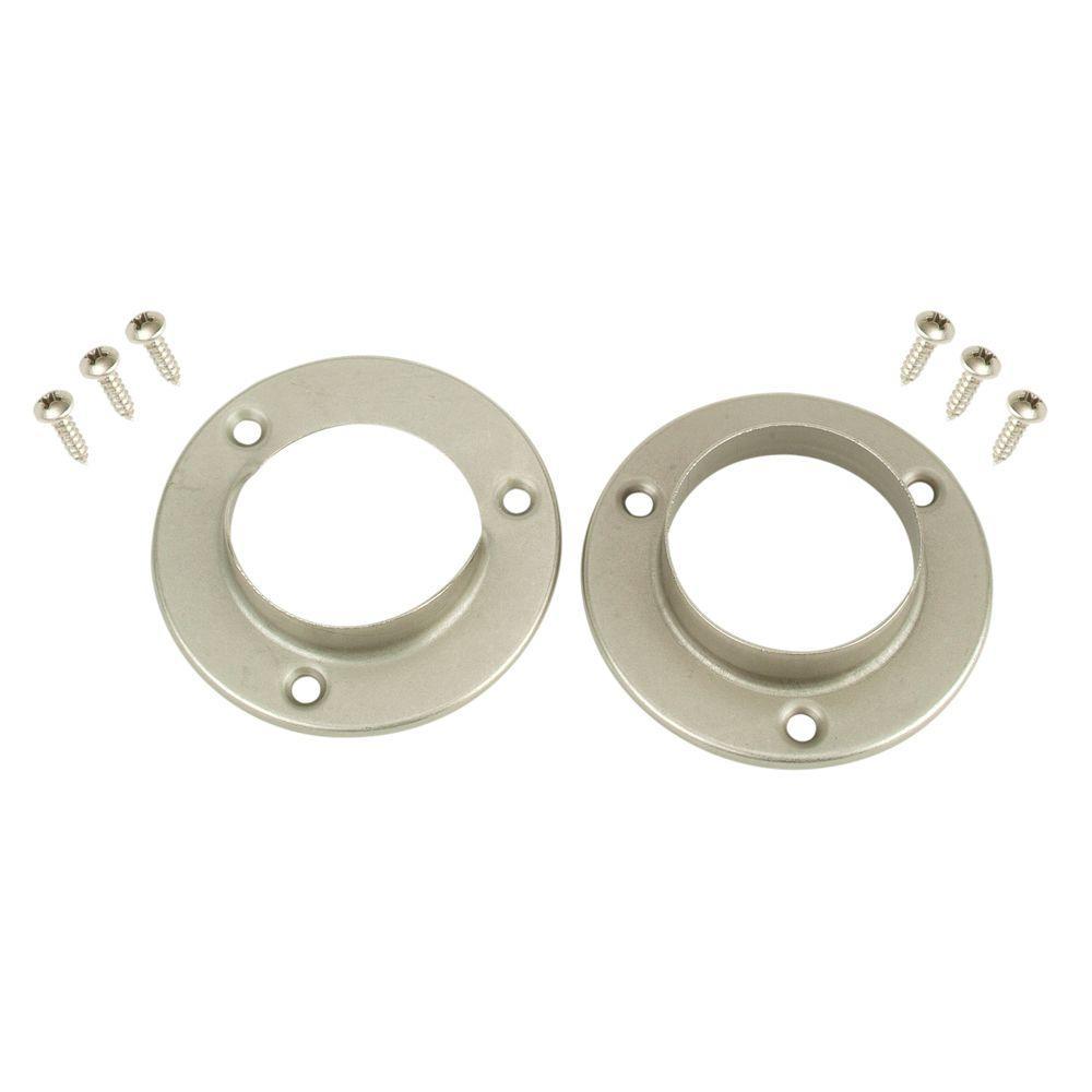 1-3/8 in. Satin Nickel Metal Pole Sockets (2-Pack)