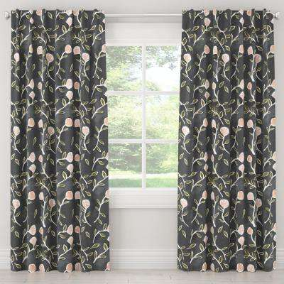 50 in. W x 120 in. L Blackout Curtain in Caroline Floral Grey Peach