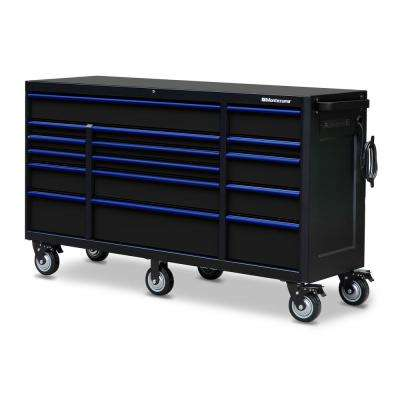 72 in. x 20 in. 16-Drawer Roller Cabinet Tool Chest with Power and USB Outlets in Black and Blue