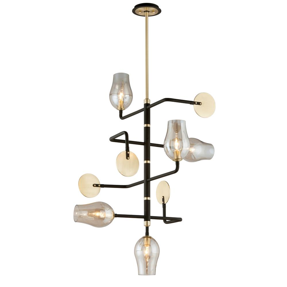 Equilibrium 5-Light Textured Bronze and Brushed Brass Pendant