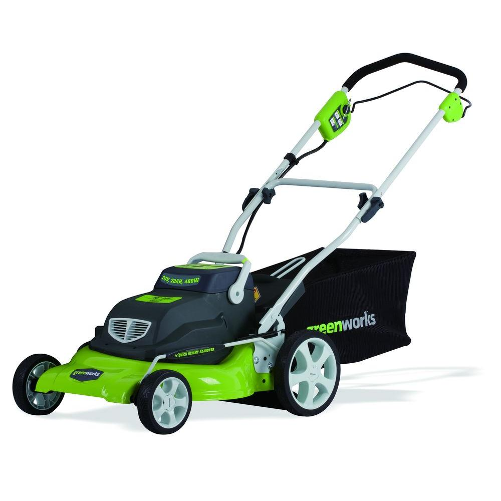 Green Works 20 in. 24-Volt 3-in-1 Cordless Lawn Mower-DISCONTINUED