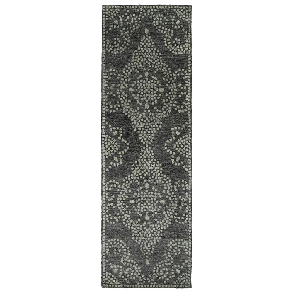 Kaleen Art Tiles Charcoal 3 ft. x 8 ft. Runner Rug