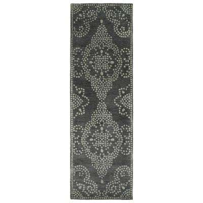 Art Tiles Charcoal 3 ft. x 8 ft. Runner Rug