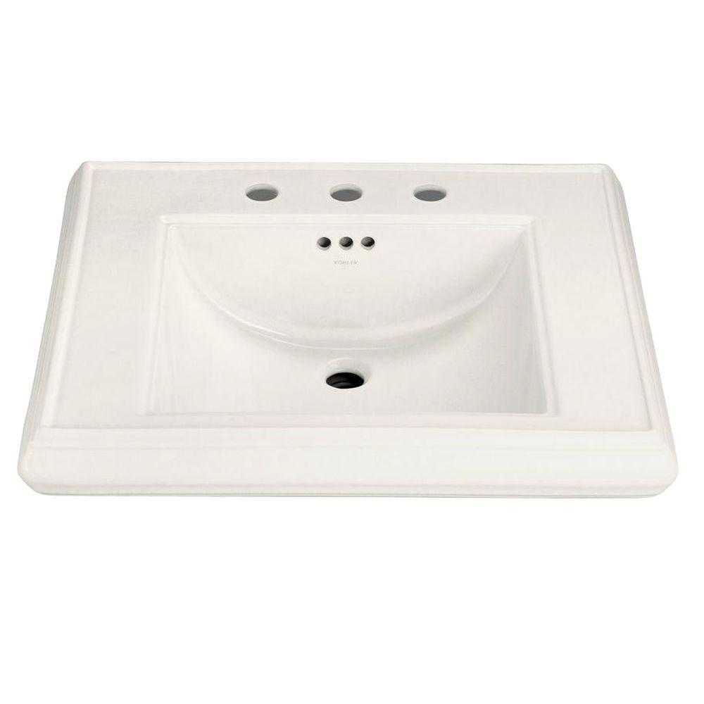 Memoirs 5-3/8 in. Ceramic Pedestal Sink Basin in Biscuit with Overflow