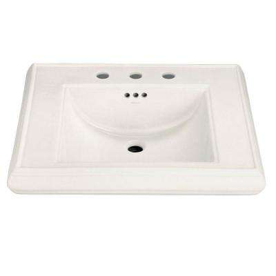 Memoirs 5-3/8 in. Ceramic Pedestal Sink Basin in Biscuit with Overflow Drain