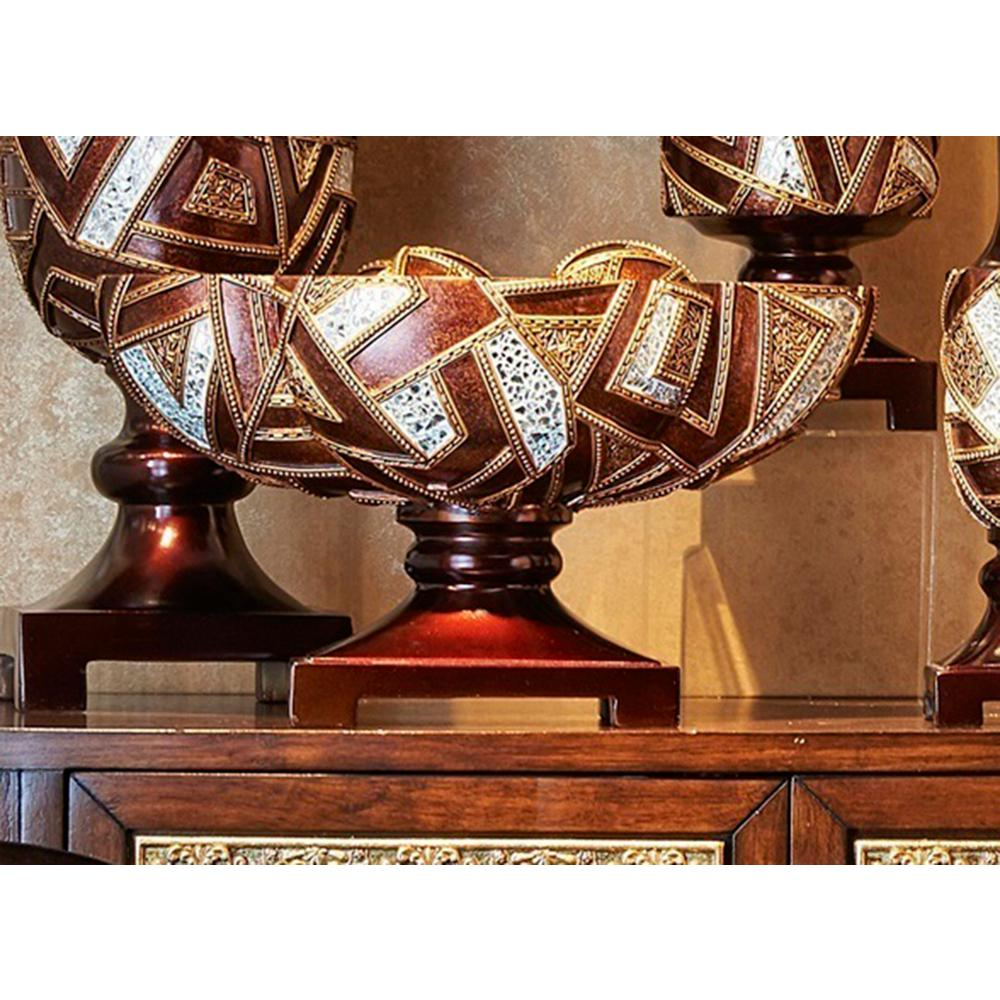 10 in. Brown Polymosaic Decor Bowl with Spheres