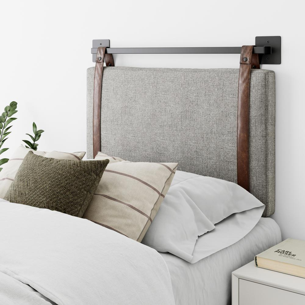 Nathan James Harlow 36 In Twin Wall Mount Gray With Adjustable Straps And Black Metal Rail Upholstered Headboard 94002 The Home Depot
