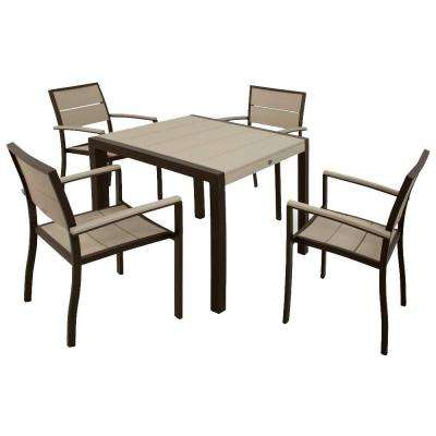 Surf City Textured Bronze 5-Piece Plastic Outdoor Patio Dining Set with Sand Castle Slats