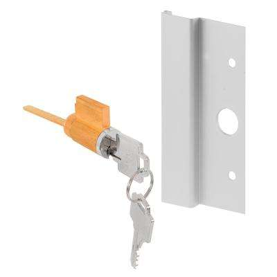 3 in. Aluminum Keyed Sliding Door Outside Pull with Door Lock and Key