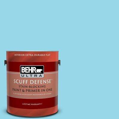 1 gal. #P490-2 Blue Sarong Extra Durable Flat Interior Paint and Primer in One
