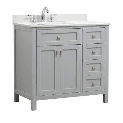 Juniper 36 in. W x 21 in. D Bath Vanity in Dove Gray with Engineered Marble Vanity Top in Yves White with White Basin