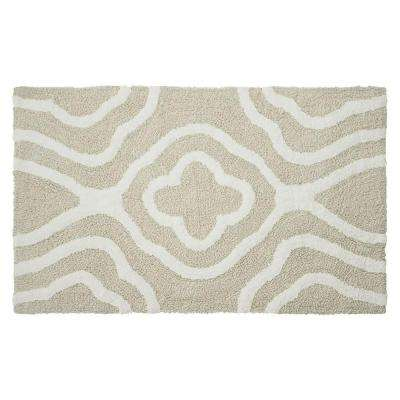 Reversible Cotton Soft Giri Ivory 21 in. x 34 in. Bath Mat