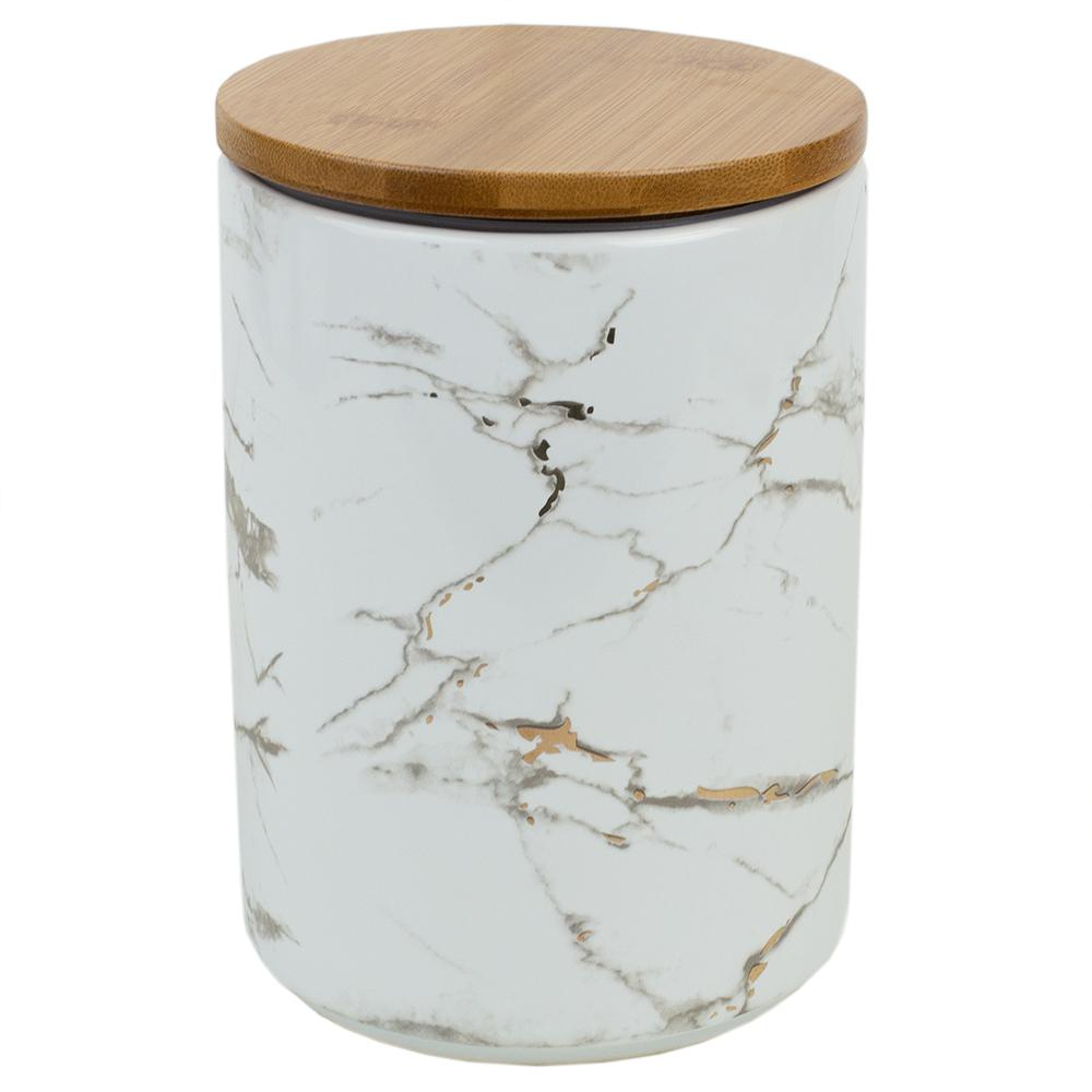 large kitchen canisters home basics marble ceramic large canister with bamboo lid cs41973 the home depot 3164