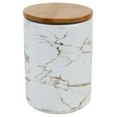 Marble Ceramic Large Canister with Bamboo Lid