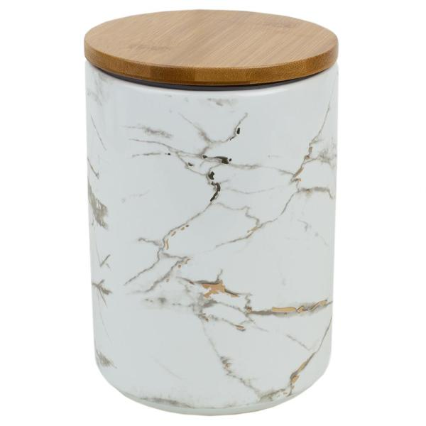 Home Basics Marble Ceramic Large Canister with Bamboo Lid CS41973