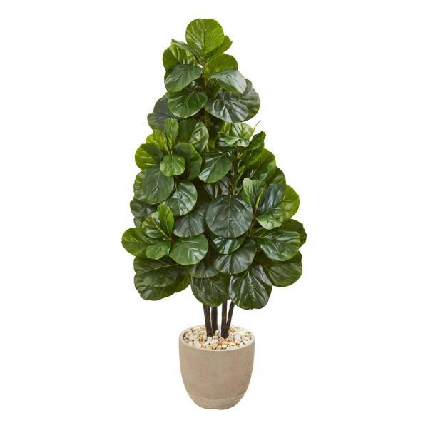 Nearly Natural Indoor 58-In. Fiddle Leaf Fig Artificial Tree in Sand