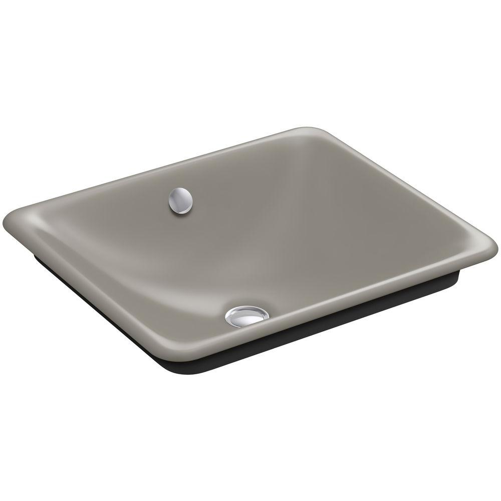 KOHLER Iron Plains Cast Iron Vessel Sink with Black Iron Painted Underside in Cashmere with Overflow Drain