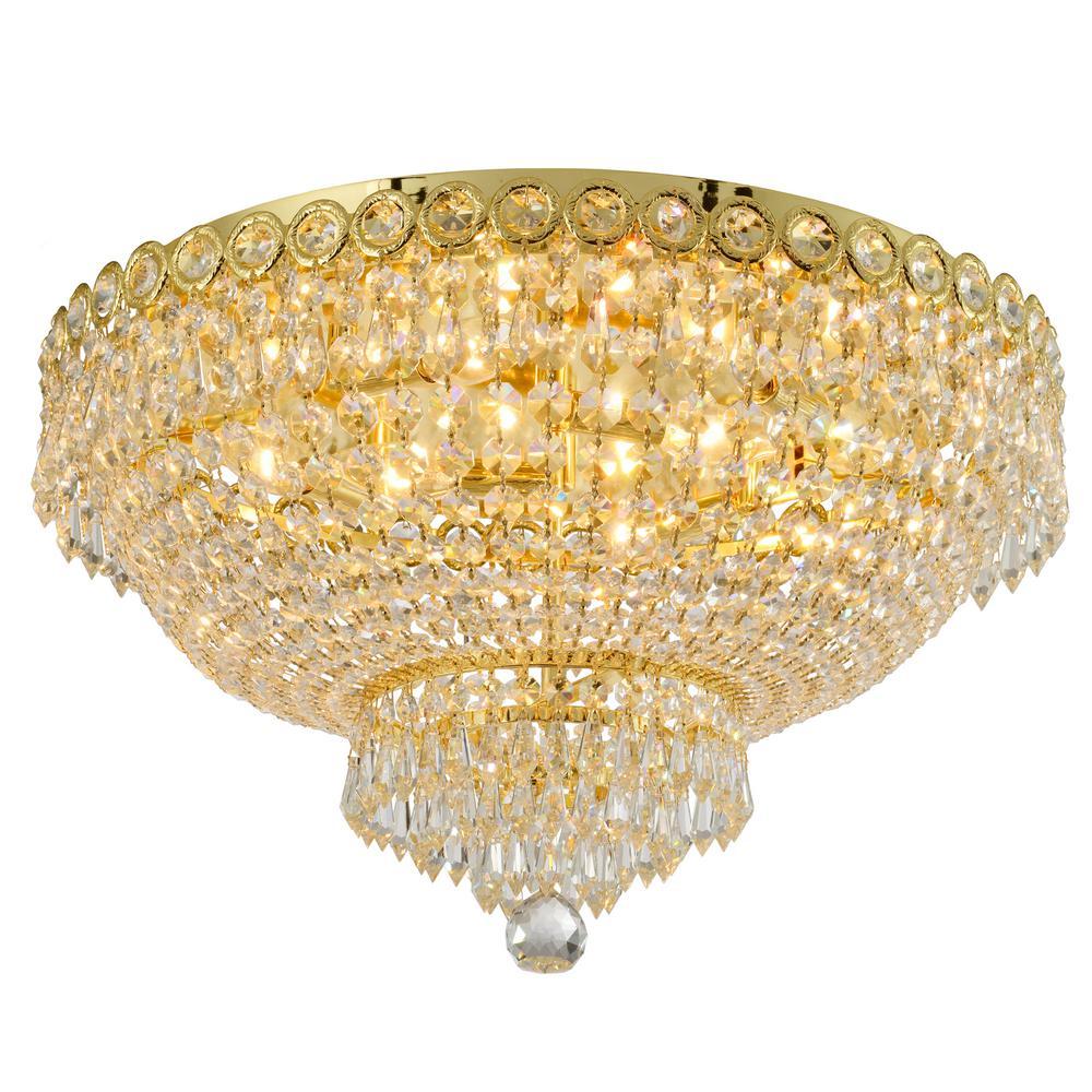 Worldwide Lighting Empire 20 in. 6-Light Polished Gold Crystal Flush Mount