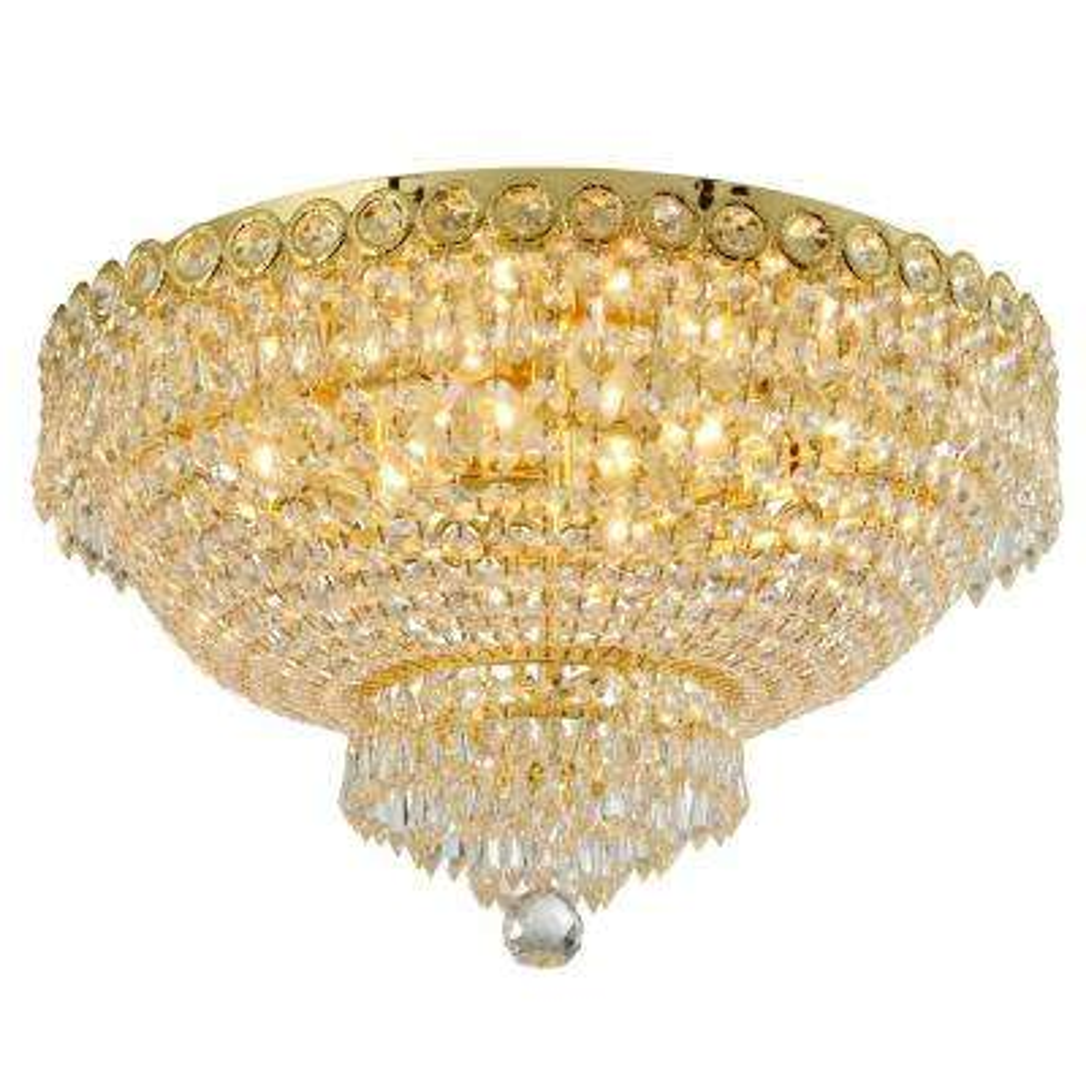 Empire 20 in. 6-Light Polished Gold Crystal Flush Mount
